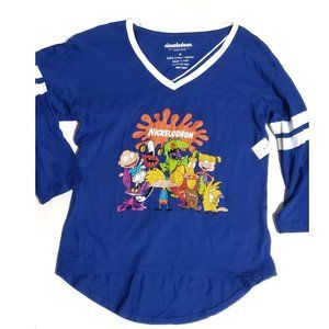 Tops - blue baseball tee graphic 90s characters nwt